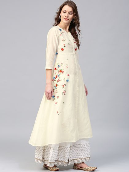 Floral Pastel cream Placement 3-D Embroidered A-Line Kurta