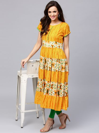 Mustard Yellow Printed Tiered Anarkali