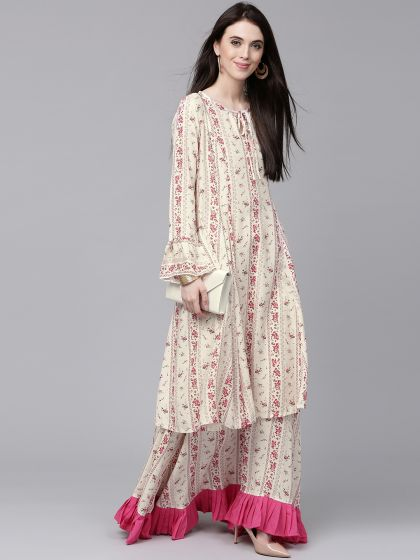 White & Pink Floral Printed A-Line Dress