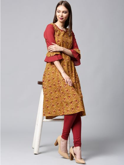 Mustard & Maroon Floral Printed A-Line Kurta with ruffled Sleeves