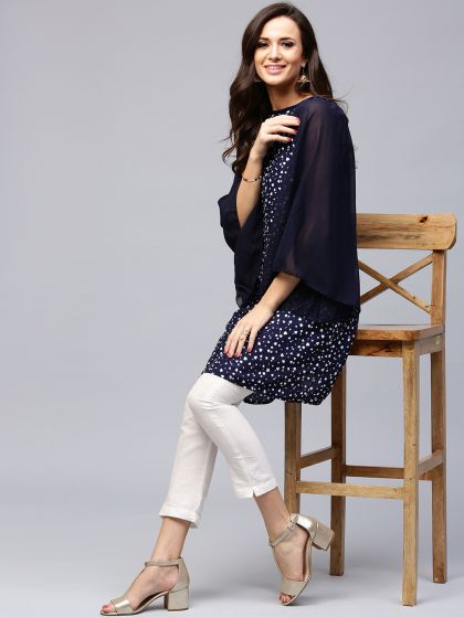 Navy Blue Printed Kurta With Flared Sleeve