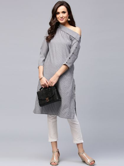 Grey Striped Drop-Shoulder Kurta