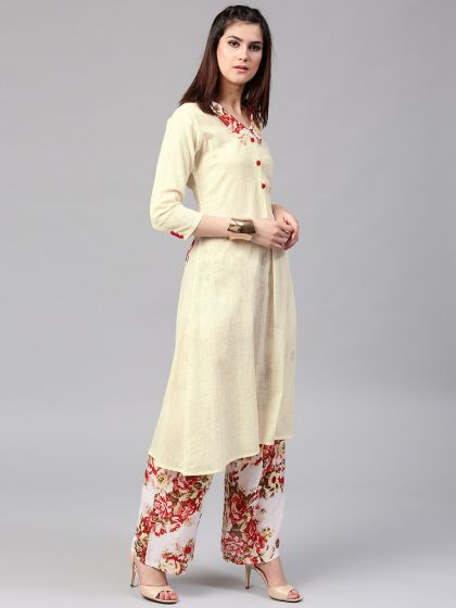 Pastel Cream Solid Pleated Kurta With applique in back & Collar