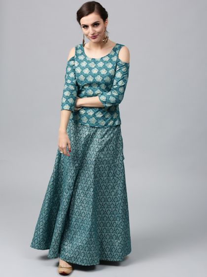 Turquoise Blue Gold Printed Lehenga With Cold Shoulder Choli