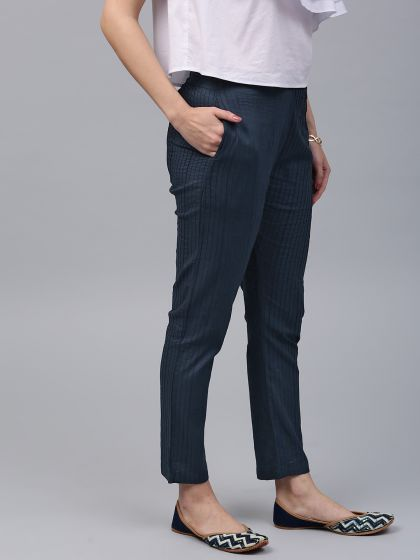 Navy Blue Solid Pintuck Pant