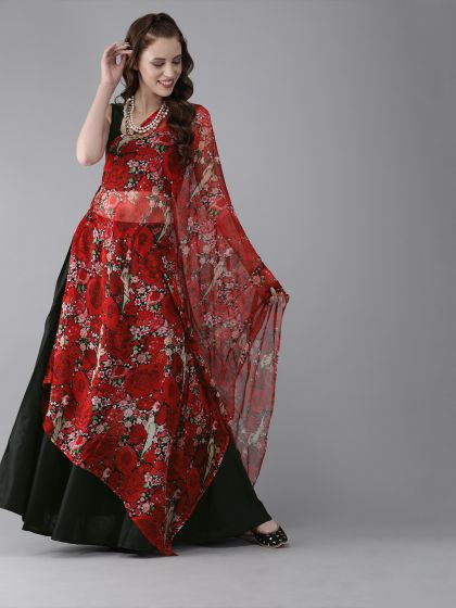 AKS Black & Red Solid Ready to Wear Lehenga & Blouse with Tie-Up Detail Dupatta