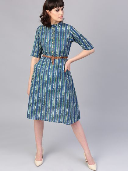 Blue & Green Printed A-Line Dress