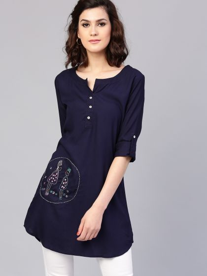 Navy Blue Embroidered Tunic