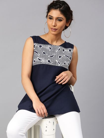 Navy Blue Embroidered Sleeveless Top