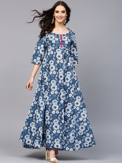 Indigo Floral Printed Anarkali With Button Details