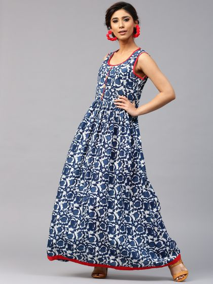 Indigo Printed Anarkali With Contrast Pipping Details