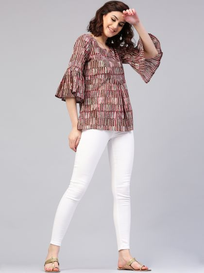 Brown Printed Tunic With Rufle Sleeve