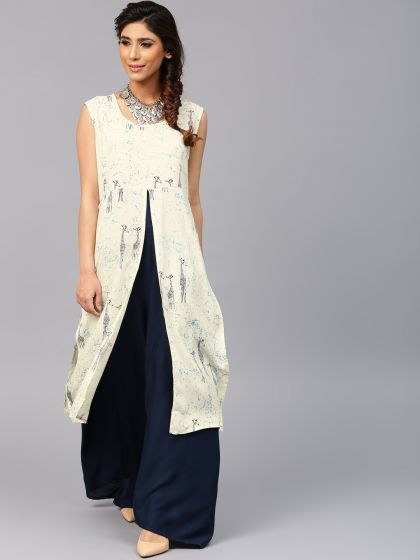 White & Navy Blue Double Layered Dress