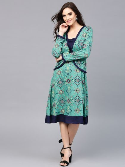 Green & Blue Geometrical Printed Kurta With Jacket Set