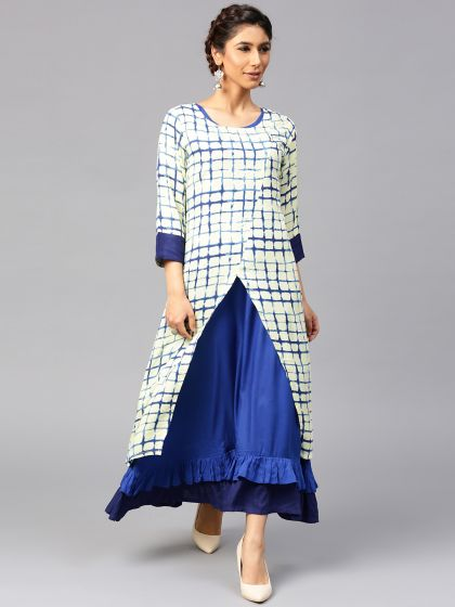 Cream & Indigo Double Layered Dress With Ruffled Hemline