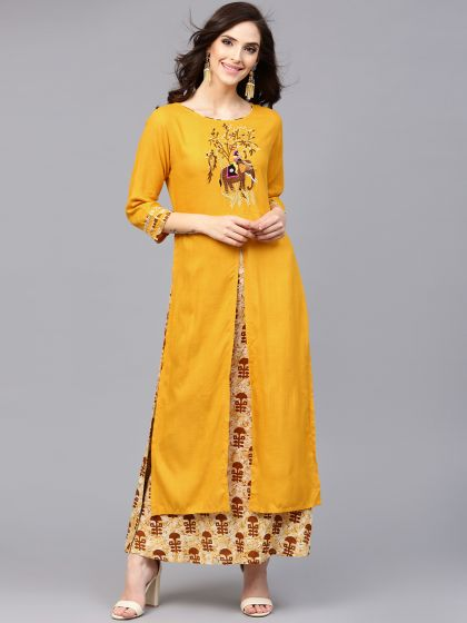 Mustard Yellow Embroidered Double Layered Dress