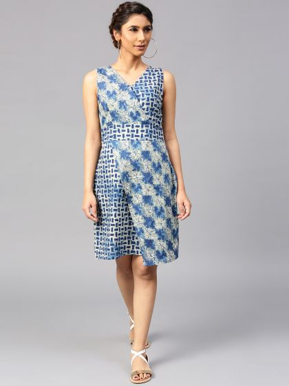 Indigo Printed Asymmetrical Dress