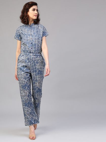 Indigo printed jumpsuit with pockets