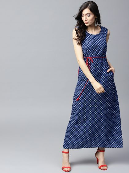 Blue Printed A-Line Maxi With Side pocket details