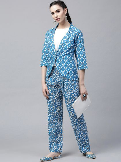 Blue & White Printed Jacket With Palazzo set
