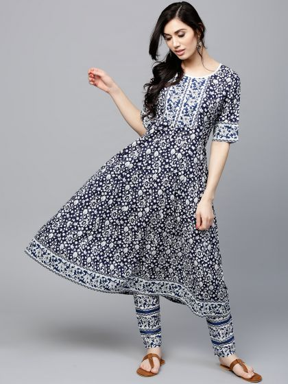 Navy Blue & White Floral Printed Anarkali