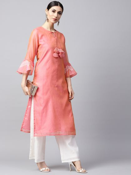 Peach Solid Kurta With printed Sleeve details
