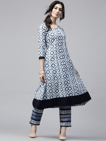 Blue & white Geometrical Printed Anarkali