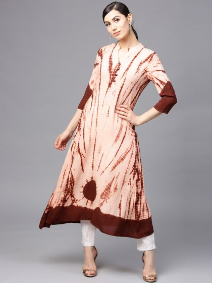 Coffee Brown tie & dye print A-Line Kurta