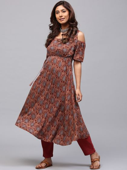 Orange & Maroon Printed cold-shoulder umbrella cut kurta