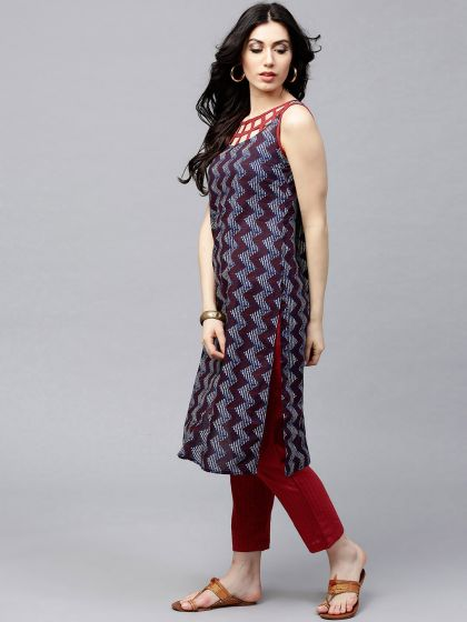 Blue & Red Neck desgin Sleeveless Straight kurta