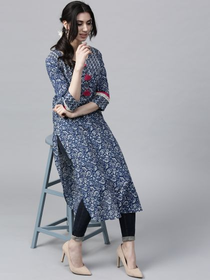 Navy Blue Printed Straight Kurta With tussel details