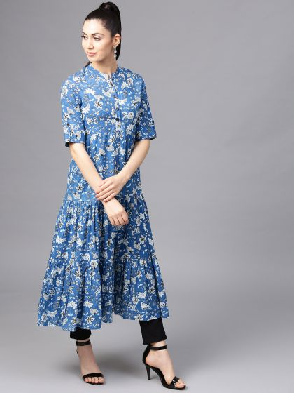 Blue Floral Printed Tiered Anarkali