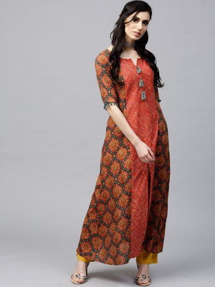 Red & Green Printed A-Line Kurta with pom-pom details