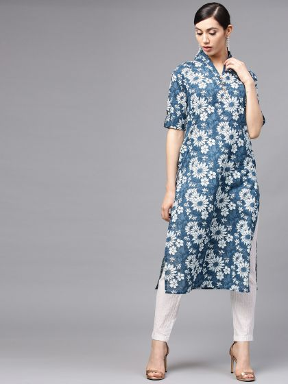 Blue Floral Printed Straight With Lapple Collar