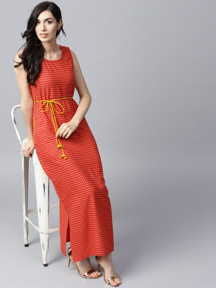 Red Printed A-Line Maxi With Side pocket details
