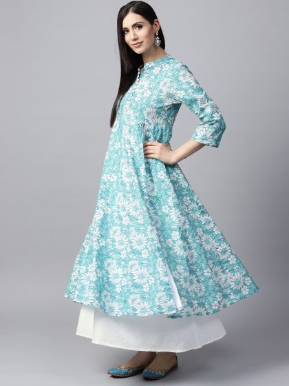 Sky Blue & White Floral Printed double layered Anarkali