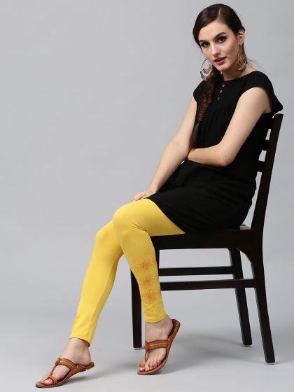 Yellow Embroidered Leggings