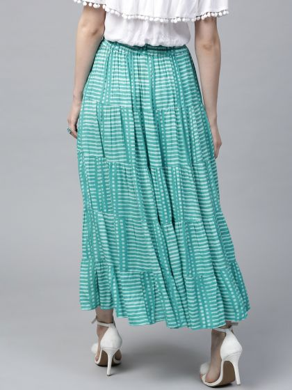 Turquoise Blue Printed tiered Skirt