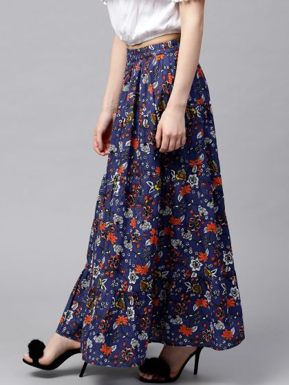 Blue & Red Floral Printed tiered Skirt