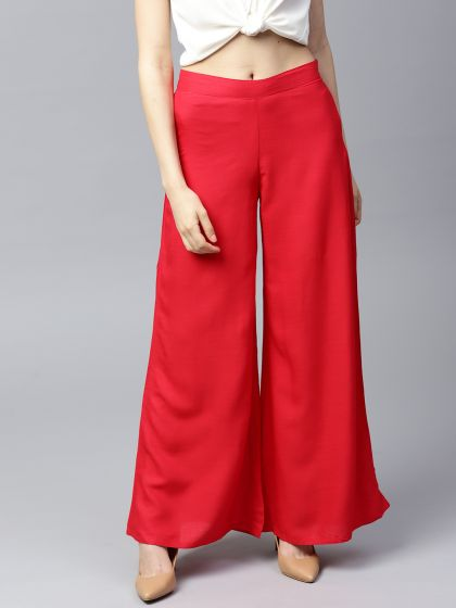 Red Solid Flared Palazzo