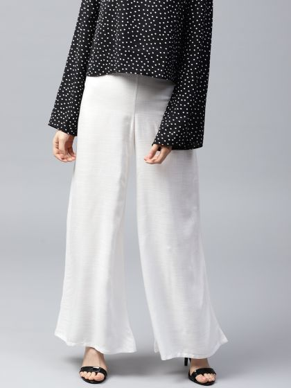 White Solid Flared Palazzo