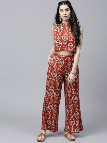 Red & olive Printed Palazzo and Crop Top