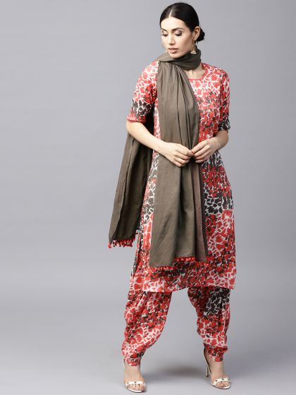 Peach Printed Straight Kurta With Salwar & Dupatta set