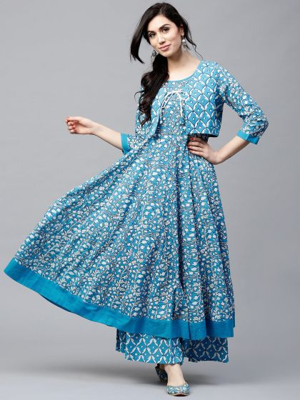 Blue & White Floral Printed Anarkali with waist coat