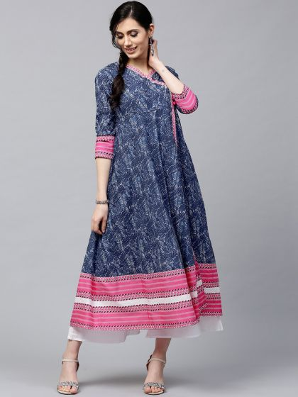 Blue & White Printed Front Slit open Anarkali