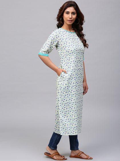 Cream printed straight kurta With pocket details