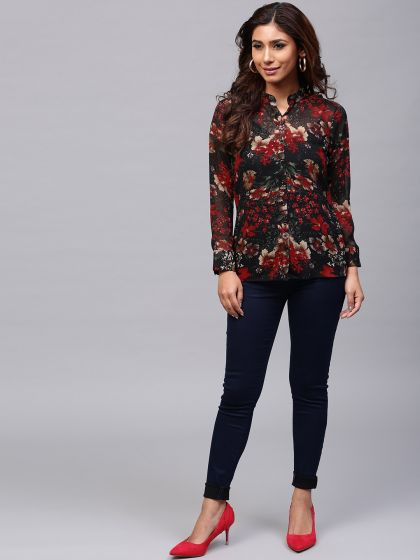 Black & Red Floral Printed Shirt