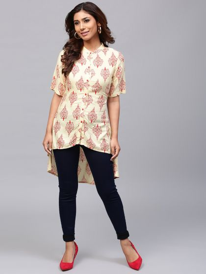Cream & Red Printed High-Low Tunic
