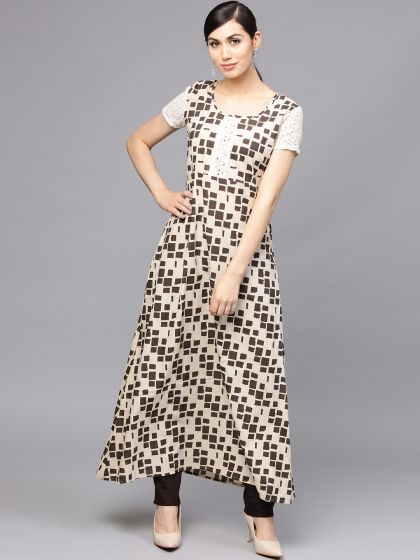 Cream Printed Anarkali With schiffle Details