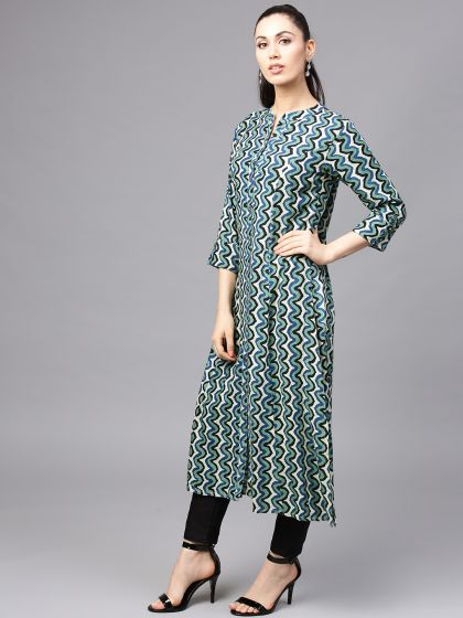 Green & blue Printed A-Line Kurta